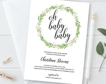 Twin Baby Shower Invitation Instant Download Twins Baby Shower Invitation Template Download Green Wreath Baby Shower Invites Twin Boys GL1