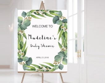 Greenery Baby Shower Signs Pack Green Leaves Welcome Sign Printable Editable Sign Botanical Baby Shower Decorations Green Mimosa Sign CE2