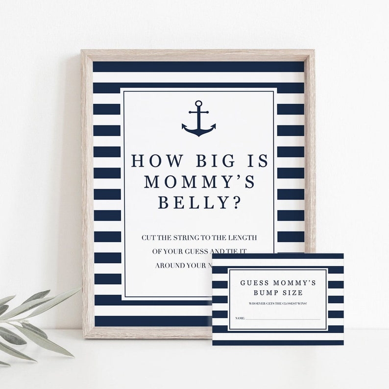 Nautical Baby Sprinkle Games Printable How Big Is Mommys Belly Game Sign and Game Cards Instant Download Navy Anchor Baby Shower Theme NS1