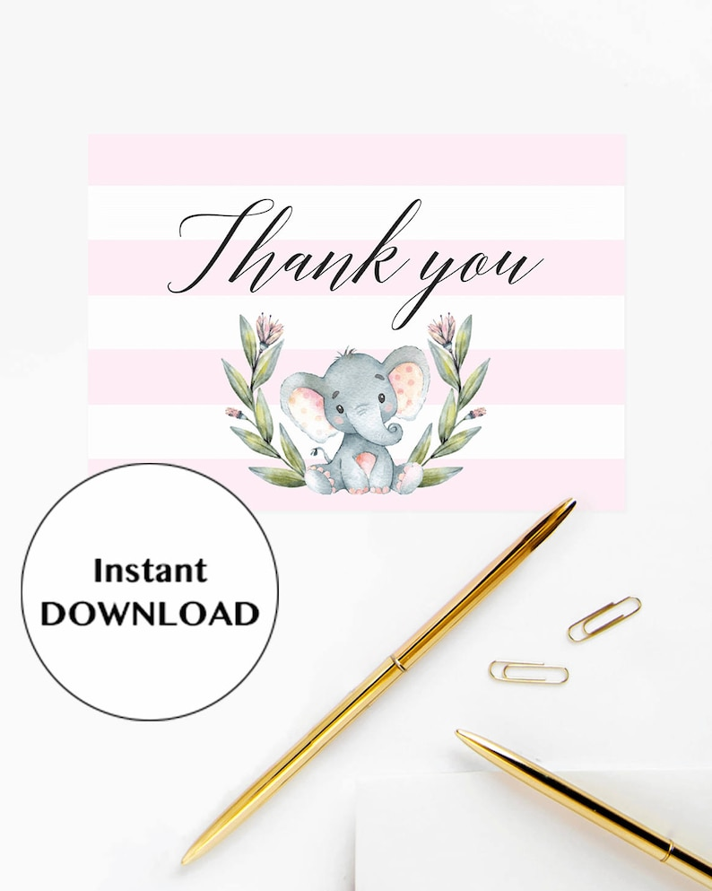 Elephant Thank You Cards Baby Shower Elephant Thank You Cards Printable Pink and White Baby Shower Decor Instant Download Pink Elephant LPE