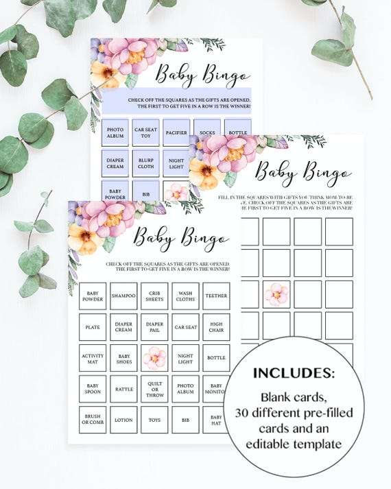 Floral Baby Bingo Shower Cards Printable Blank