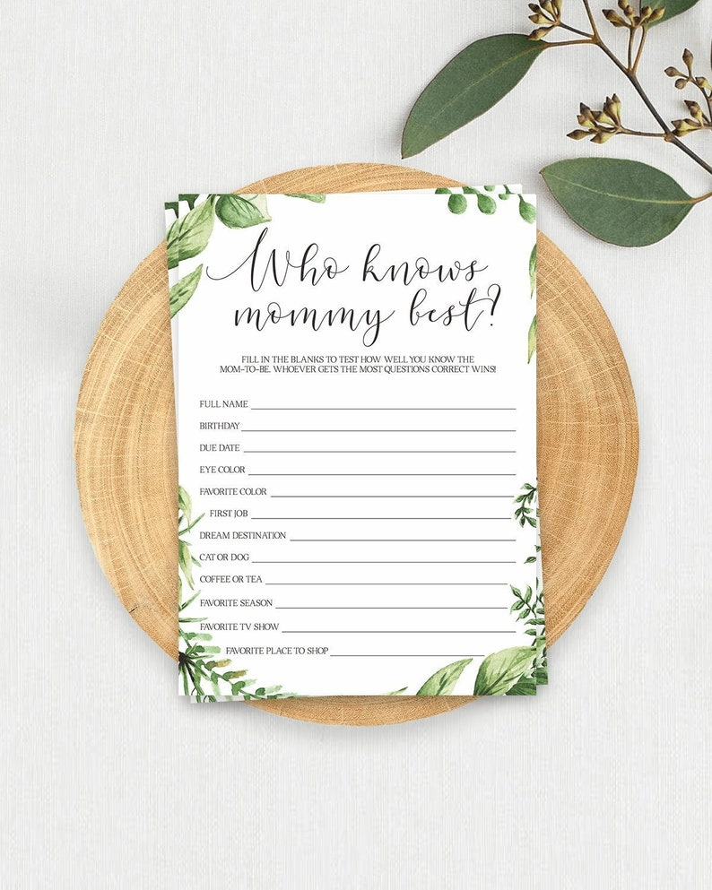 Who Knows Mommy Best Game Greenery Baby Shower Games Template Etsy