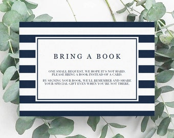 Nautical Baby Shower Insert Bring a Book Baby Shower Insert Bring a Book Instead of a Card Navy Blue Baby Shower Baby Book Request Card NS1