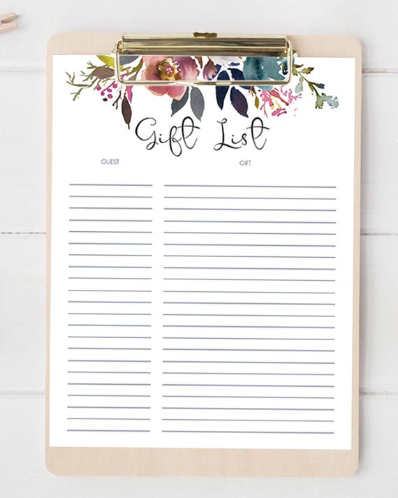 Gift List Printable Gift And Guest List Baby Shower Boho Etsy