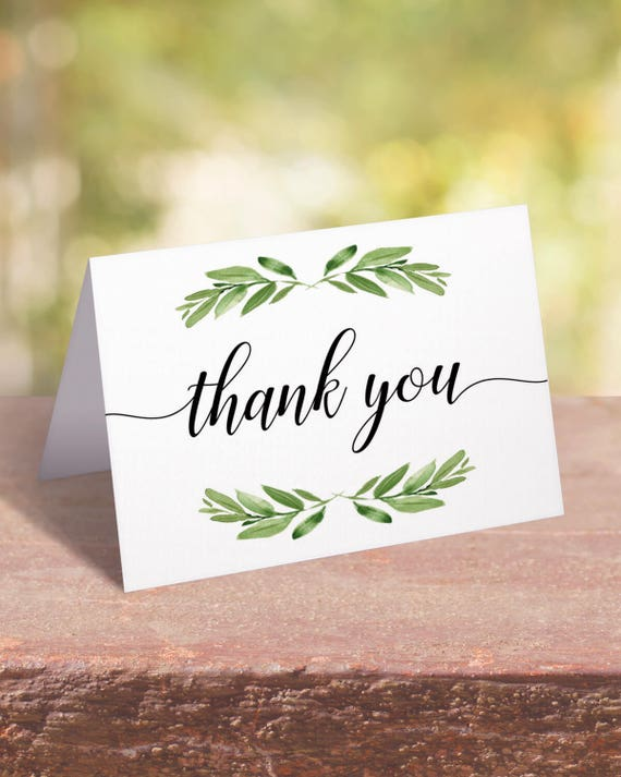 Wedding Thank You Cards Printable Watercolor Thank You Cards Etsy
