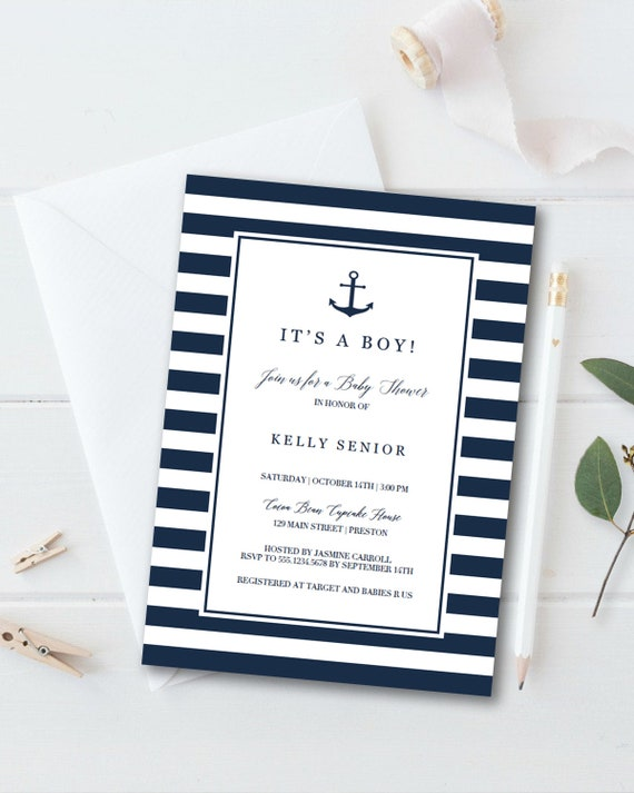 graphic relating to Nautical Baby Shower Invitations Printable named Nautical Little one Shower Invitation Boy Printable Anchor Youngster Shower Invites Military Blue Youngster Shower Invitations Kid Boy Shower Invitation NS1