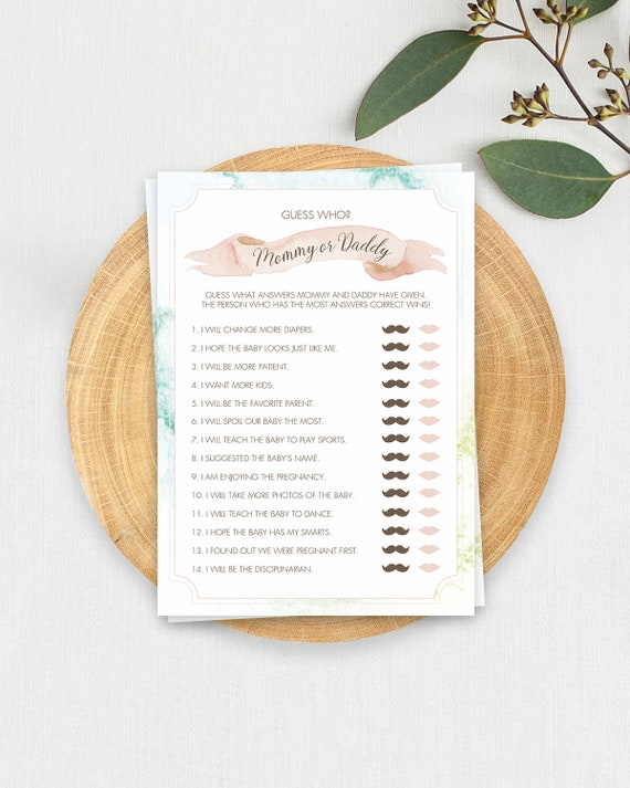 Guess Who Mommy Or Daddy Baby Shower Game Printable Baby Etsy