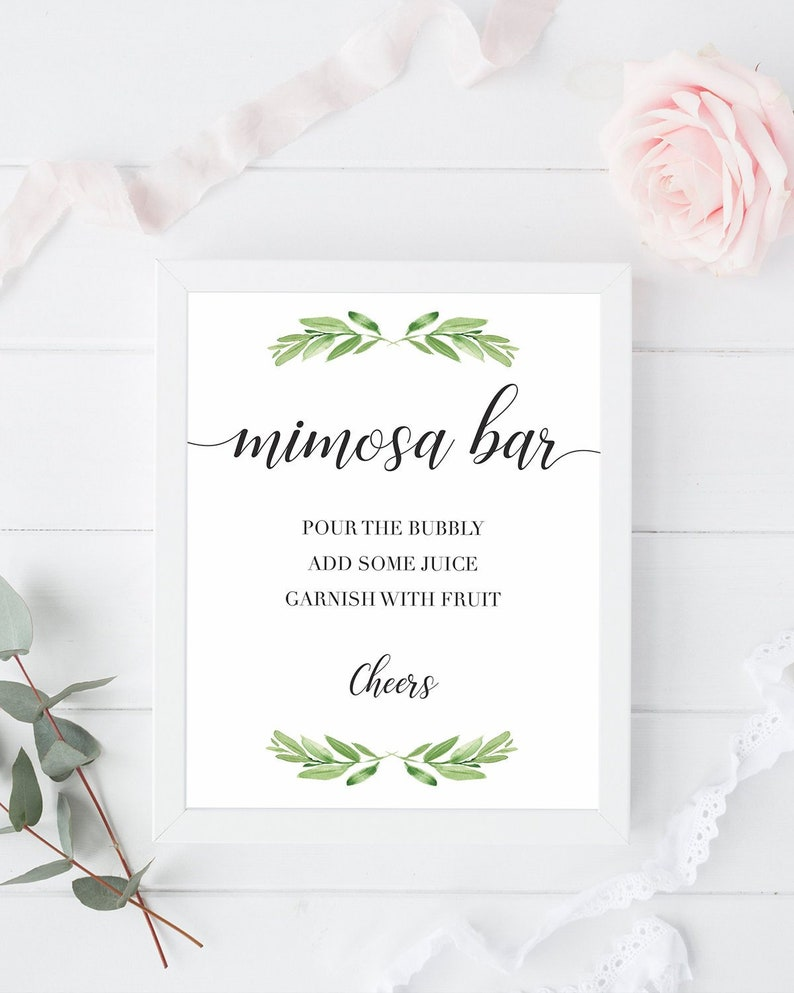photograph about Mimosa Bar Sign Printable titled Printable Boy or girl Shower Mimosa Bar Indication Printable Mimosa Bar Signal Little one Shower Greenery Decoration Mimosa Indicator Printable Mimosa Bar Leaves GL1