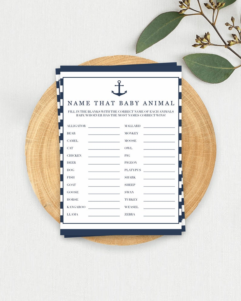 Navy Baby Shower Games Download Name That Baby Animal Game Guess the Baby  Animal Boy Baby Shower Themes DIY Baby Shower Nautical Games NS1