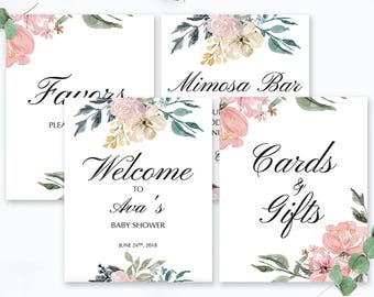 Whimsical Baby Shower Signs Package Watercolor Flowers Blush Baby Shower Decorations Digital Files Editable Welcome Sign Template Favors WF1