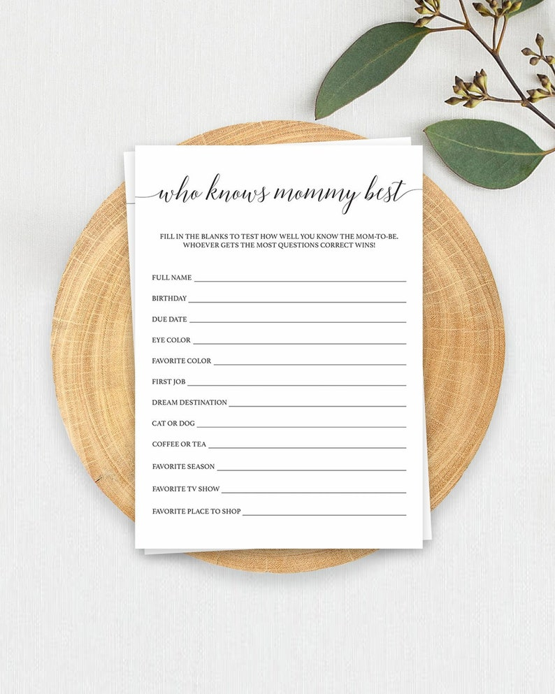 Who Knows Mommy Best Baby Shower Game Template Calligraphy Babyshower Who  Knows Mummy Best Game Mum to Be Games Black and White Minimal CL2