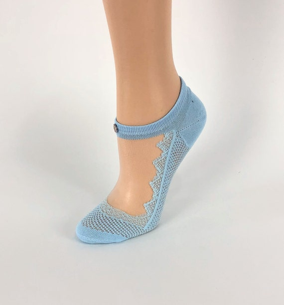 ae163bfe0 Women Sheer Socks Hand White Crystal WorkBeautiful Women | Etsy