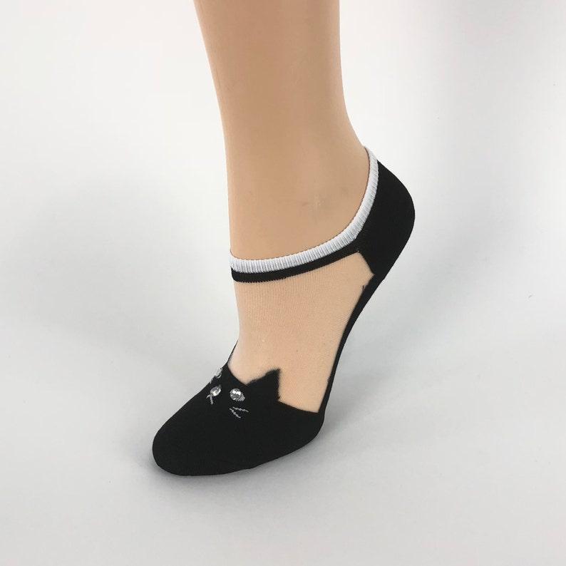 32f823a8d Women Sheer Socks Hand Black crystal WorkCrystal Sequence | Etsy