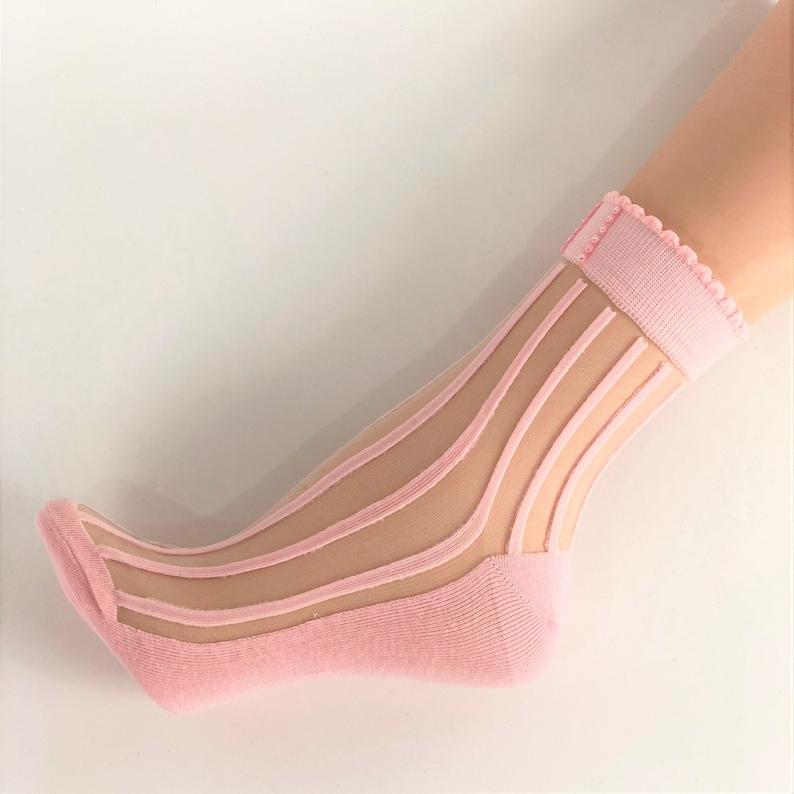 Women Sheer Socks, Hand Crystal Work,Crystal Sequence Work, Women  Socks,Crystal Lace,Transparent Socks,Socks,Fashion Socks,Floral Socks,