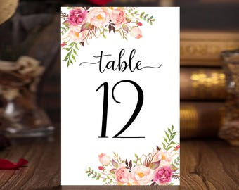 Floral table numbers Printable 1-30 wedding table number cards template 4x6 inches Banquet table decor Instant download