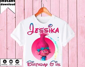 Trolls Girl Iron On Transfer Personalized Digital Birthday Party Shirt Decoration DIY