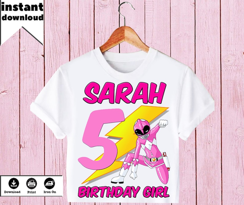 Personalized Power Rangers Birthday Girl T-Shirt