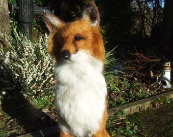 FOXTON - Simply beautiful handmade needle-felted fox sculpture!