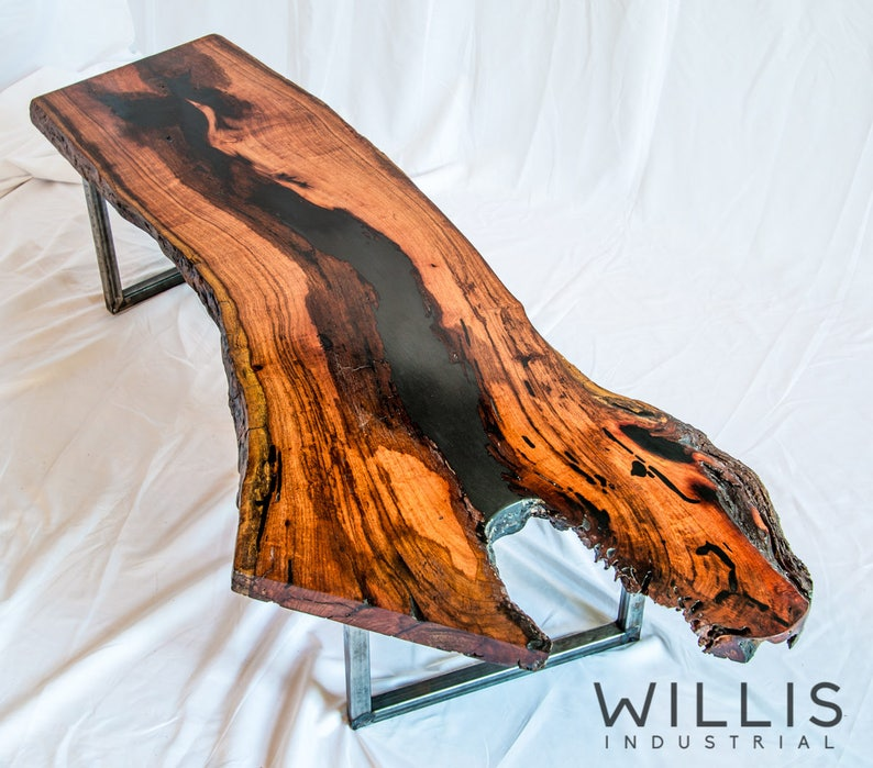 Live Edge Mesquite Slab table w/ black epoxy filling