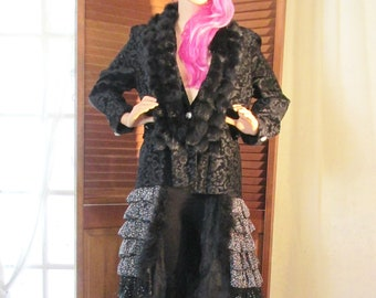 Elegant Upcycled black brocade polonaise style bustle coat with real rabbit fur collar