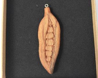 Hand Made Peas In a Pod Pendant, Peapod