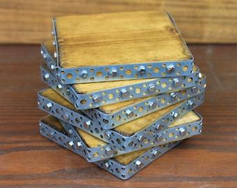 Rustic Coasters, 6 Industrial Coasters, Reclaimed Wood