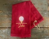Personalized Terry Golf Towel - embroidered golf towel -  tri-folded golf towel - Father's Day Gift