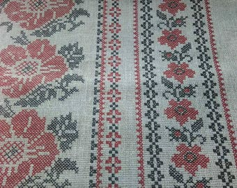 "Linen Tablecloth ""Ukrainian Pattern""farmhouse decor.linen fabric.Easter present.rustic tablecloth.Ukrainian style. Ukrainian tablecloth"