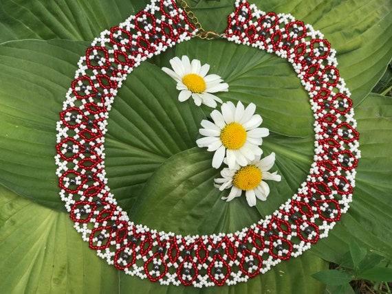folk sylianka ethnic Ukrainian traditional beads necklace gerdan