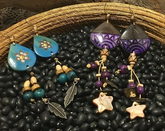 Coconut Shell and Acai Long Earrings / Various Colors / Organic / Eco-Friendly