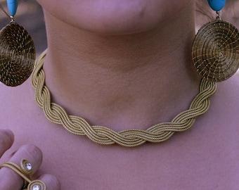Golden Grass Braided Choker Necklace / Capim Dourado / Choker Necklace / Gold / Organic / Eco-Friendly