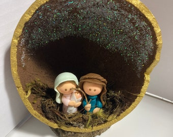 Nativity Scene Gourd and Biscuit figurines / Organic / Eco-Friendly