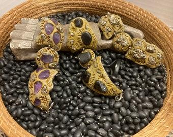 Fools Gold and Gemstone Cuff Bracelet / Clay / Organic / Eco-Friendly