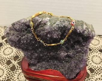 Golden Grass and Greek Eye  Bracelet / Capim Dourado  / Organic / Eco-Friendly
