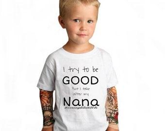 Toddler//Kids Sporty T-Shirt Little Girl I Love My Nana This Much