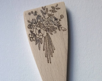 Floral Decor, Serving Utensils, Serving Spoons, Wooden Utensils, Wooden Spoons, Kitchen Decor, Custom Gift, Personalized Gift