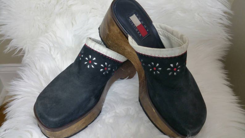837612302 Vintage Tommy Hilfiger 90 s Clogs Mules Shoes Wedge