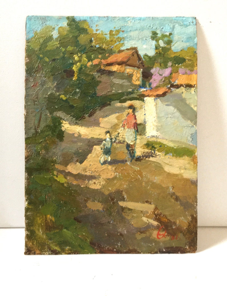Vintage Original OIL Painting by Chebotaru N Authentic 1981 Rural genre art piece Country woman child artwork Wall decor Gift