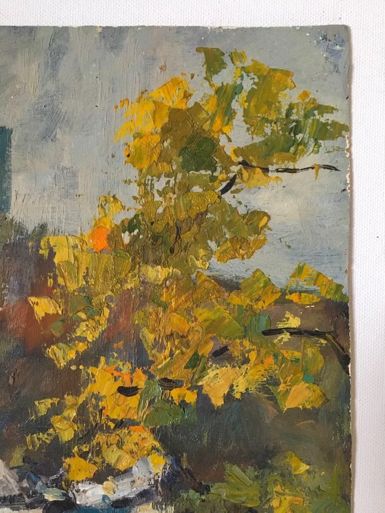 Farmhouse decor Authentic 1974 Soviet painting Wall decor Landscape Vintage Painting Small art Rarity Collectible artwork Cityscape