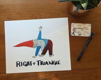 Art Print 8x10 Gnome Yoga Right Triangle