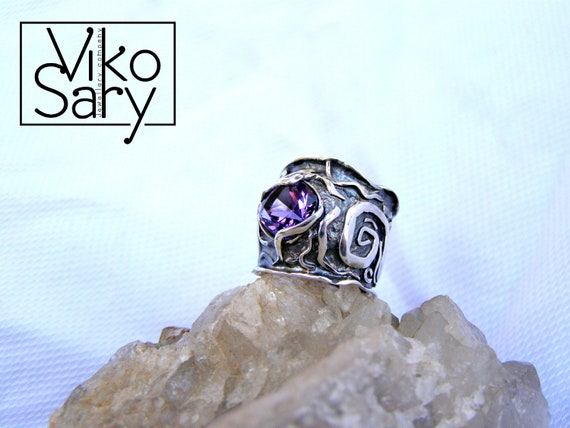 Gift Ring Natural Amethyst Gemstone Ring For Women With 925 Sterling Silver