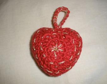 """Décoration noël   au crochet """"coeur"""""""