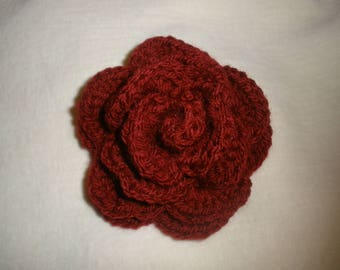 Burgundy wool crochet rose