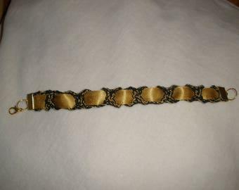 Crochet black and gold bracelet