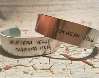 Southern Belle hand stamped cuff bracelets
