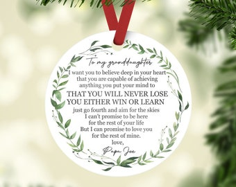 To My Granddaughter Christmas Ornament, Gift For Granddaughter, Gift From Grandparents, Granddaughter Ornament, Granddaughter Keepsake