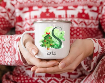 Personalized Christmas Tree Christmas Camp Mug, Gingerbread Man Mug For Kids, Hot Chocolate Christmas Mug, Christmas Eve Gift Box