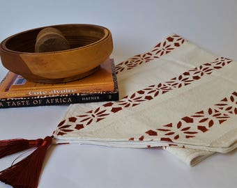 African Mudcloth Table Runner, Rust and Cream Mudcloth Table Runner, Bogolan Table Runner with Tassels