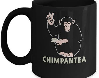 Gift For Dad Father's Day - Chimpantea Funny Animal Pun (Chimpanzee Tea) Home Office Coffee Mug Cup Black (11 & 15 ounces)