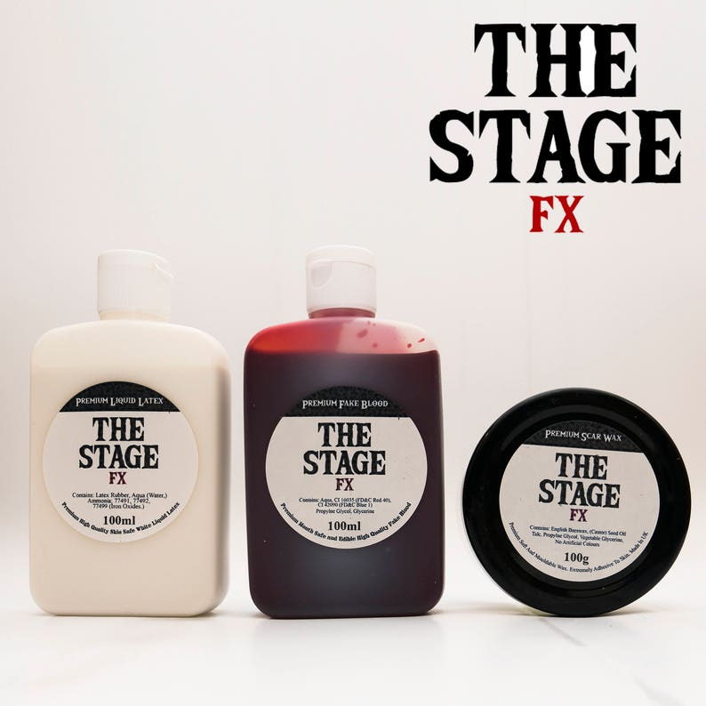 THE STAGE FX Triple Set Fake Blood  Liquid Latex  Scar Wax image 0